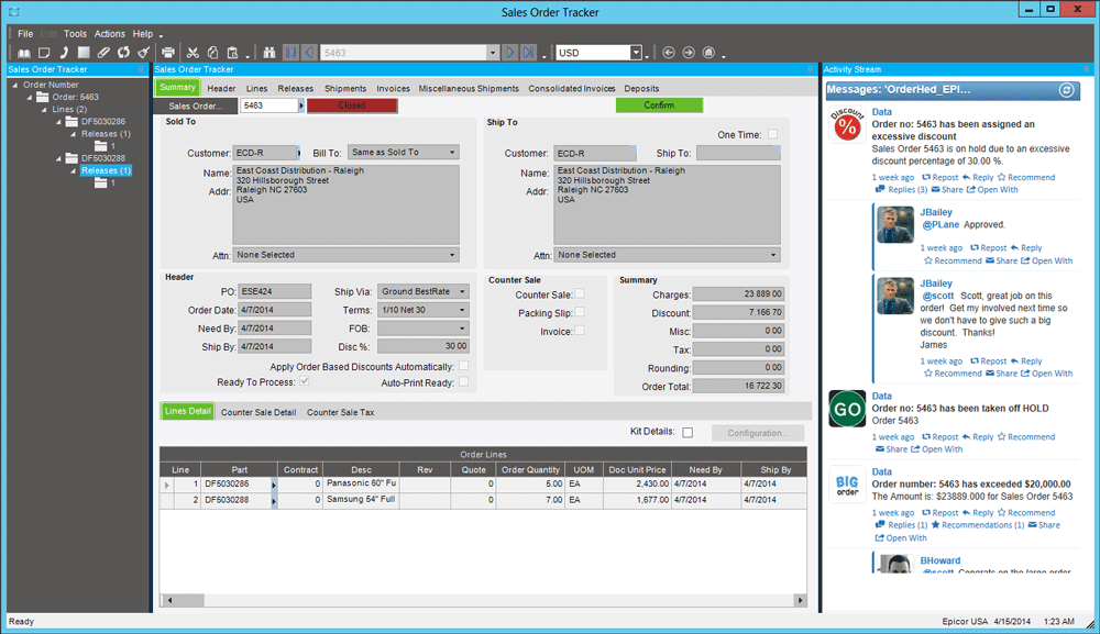 Epicor Sales Order Tracker with Social Enterprise Embedded