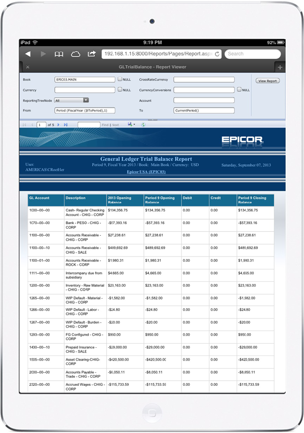 Epicor General Ledger Trial Balance Report